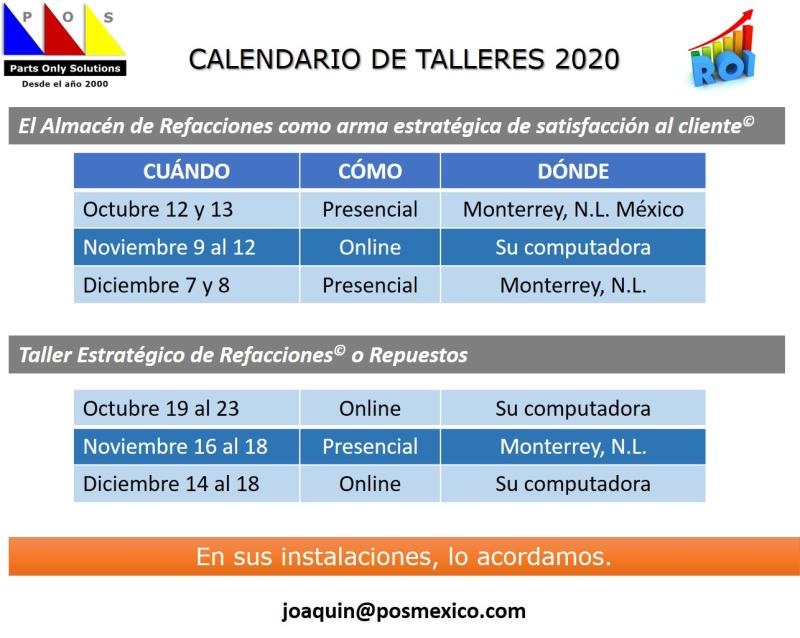 Calendario de cursos 2020-2