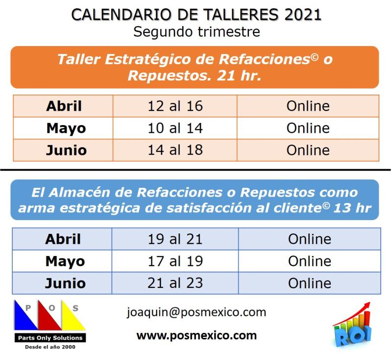 Calendario Talleres segundo trimestre 2021
