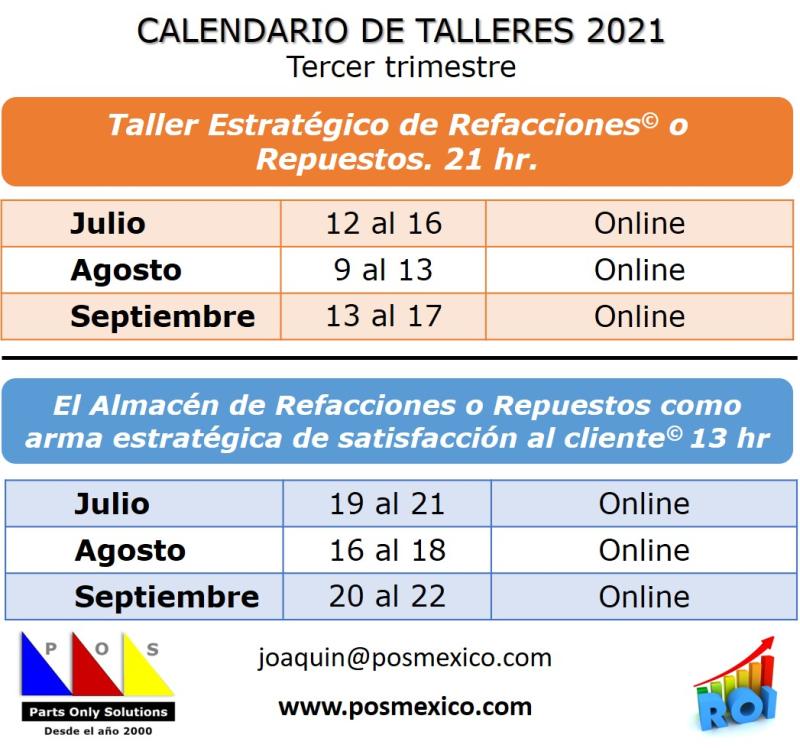 Calendario 3er Trim 2021