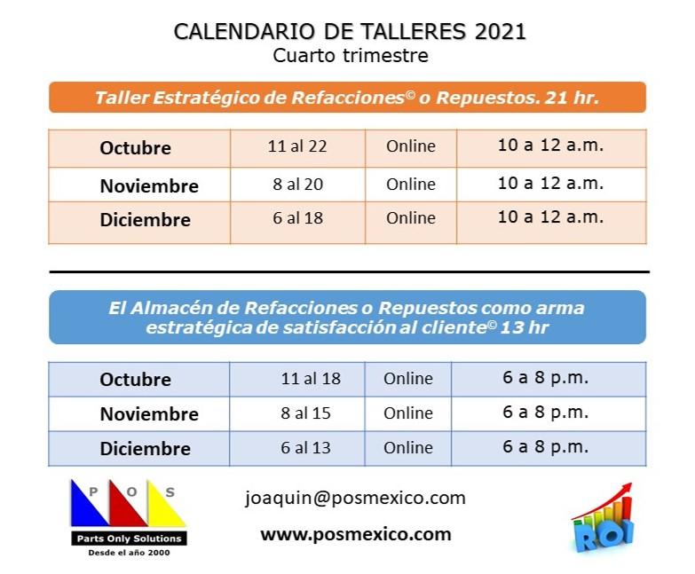 Calendario cursos 2021 Oct - Dic
